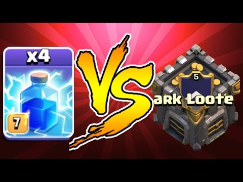 Clash Of Clans - LIGHTNING x4 Vs. CC w/ TROOPS INSIDE!! (Lvl 13 perk!?!?!)
