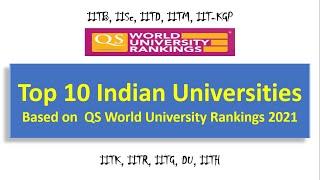 Top 10 Indian Universities | Based on QS World University Rankings 2021