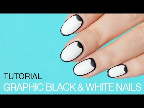 Graphic Black and White Nail Art || SoNailicious