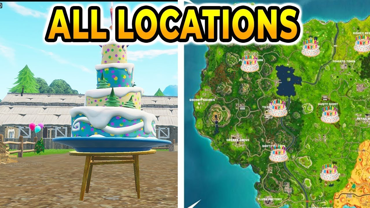 Dance In Front Of Different Birthday Cakes All 10 Locations Fortnite Birthday Challenges Youtube