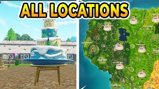 """""""Dance In Front Of Different Birthday Cakes"""" All 10 LOCATIONS FORTNITE BIRTHDAY CHALLENGES!"""