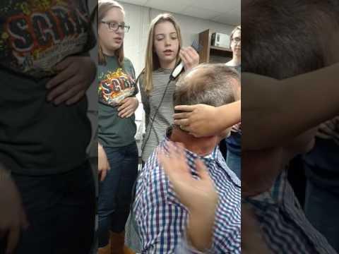 Shaving Mr.Fincham's head!!!!! grandview Christian School.