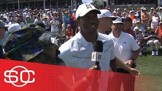 Michael Collins catches up with Tiger Woods at Caddie 17th Hole Competition | SportsCenter | ESPN