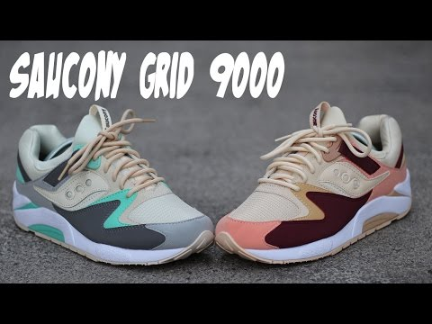 I Couldn't Decide So I Got Both! Saucony Grid 9000 Tan Burgundy and Charcoal Mint Review w/ On Foot