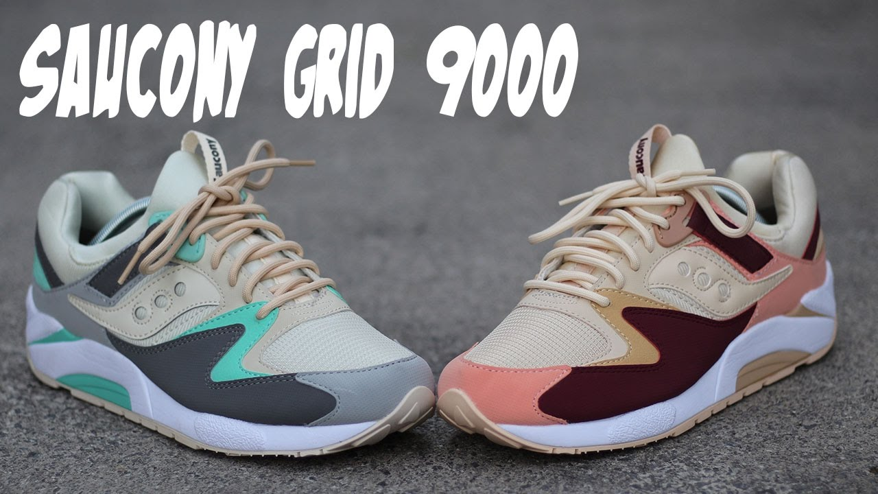 finest selection 8dc14 d2e26 I Couldn t Decide So I Got Both! Saucony Grid 9000 Tan Burgundy and  Charcoal Mint Review w  On Foot
