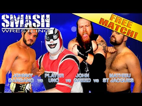 FREE MATCH! Johnny Gargano vs Player Uno vs John Greed vs Mathieu St Jacques - Super Showdown