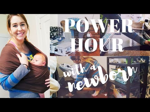 CLEANING POWER HOUR WITH A NEWBORN | Speed Cleaning Really Messy House!