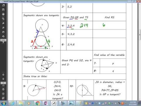 Tangent and Circle Worksheet 1 and 2 - YouTube