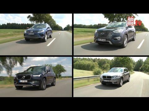 SUV-Vergleich: Volvo XC90 vs. BMW X5, VW Touareg, Hyundai Grand Santa Fe