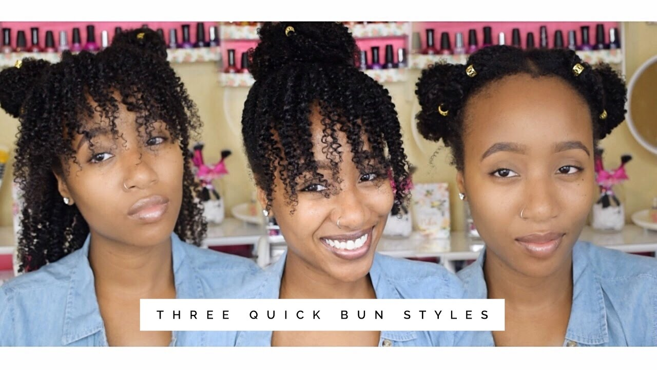 3 quick back to school natural hairstyles | 2 min easy bun styles