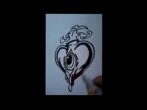 como desenhar coração tribal #2