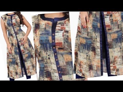 Very beautiful front slit kurta cutting and stitching