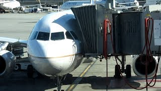 Airplane Docking at the Gate - Awesome Coupling A 320 with Aero Bridge SFO Gate 92
