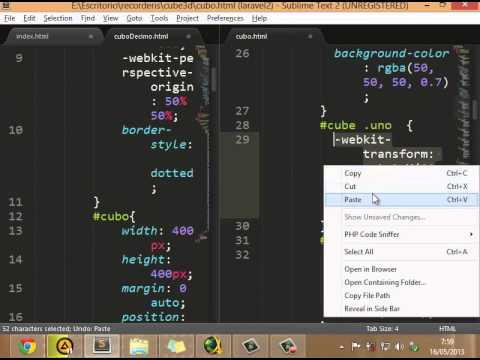 Crear cubo 3d con CSS3 en HTML5