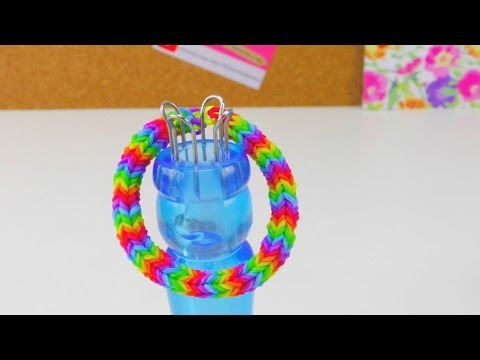 Loom Bands Quadra Fishtail Bracelet mit Strickliesel  Quadra Armband How To  deutsch