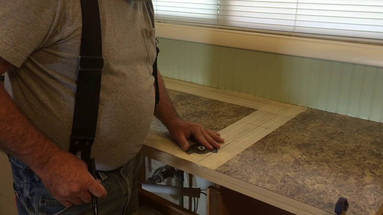 Kitchen Counter Top #4 (Cutting out the sink hole) - YouTube