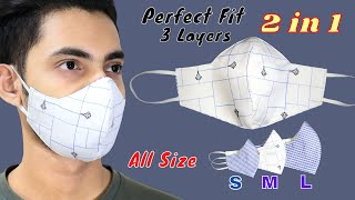 Very Easy New Style Pattern Mask ALL SIZES Face Mask Sewing Tutorial Mascarilla 3 Layer Mask