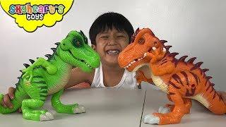 Jurassic World Playskool Heroes Toys! Skyheart opens dinosaurs for kids and children trex