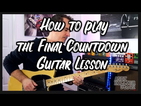 How to play the final countdown guitar lesson tutorial with TAB