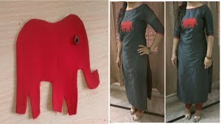 Beautiful Front Neckline with Handmade Patch for Designer Kurti/Top    Elephant Design Embroidery