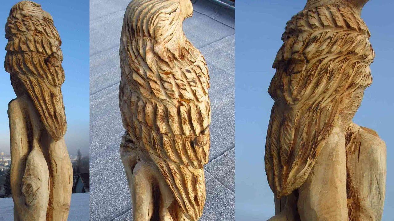 Larscarving holzadler mit der motorsäge schnitzen