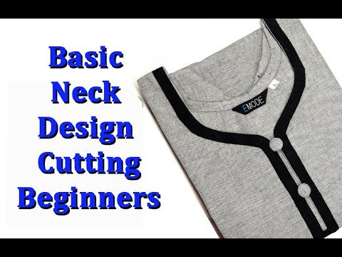 Basic neck design cutting and stitching for beginners hindi, basic neck cutting and stitching