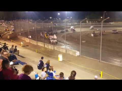 Race saver sprint cars here at the Bakersfield speedway with a very bad crash