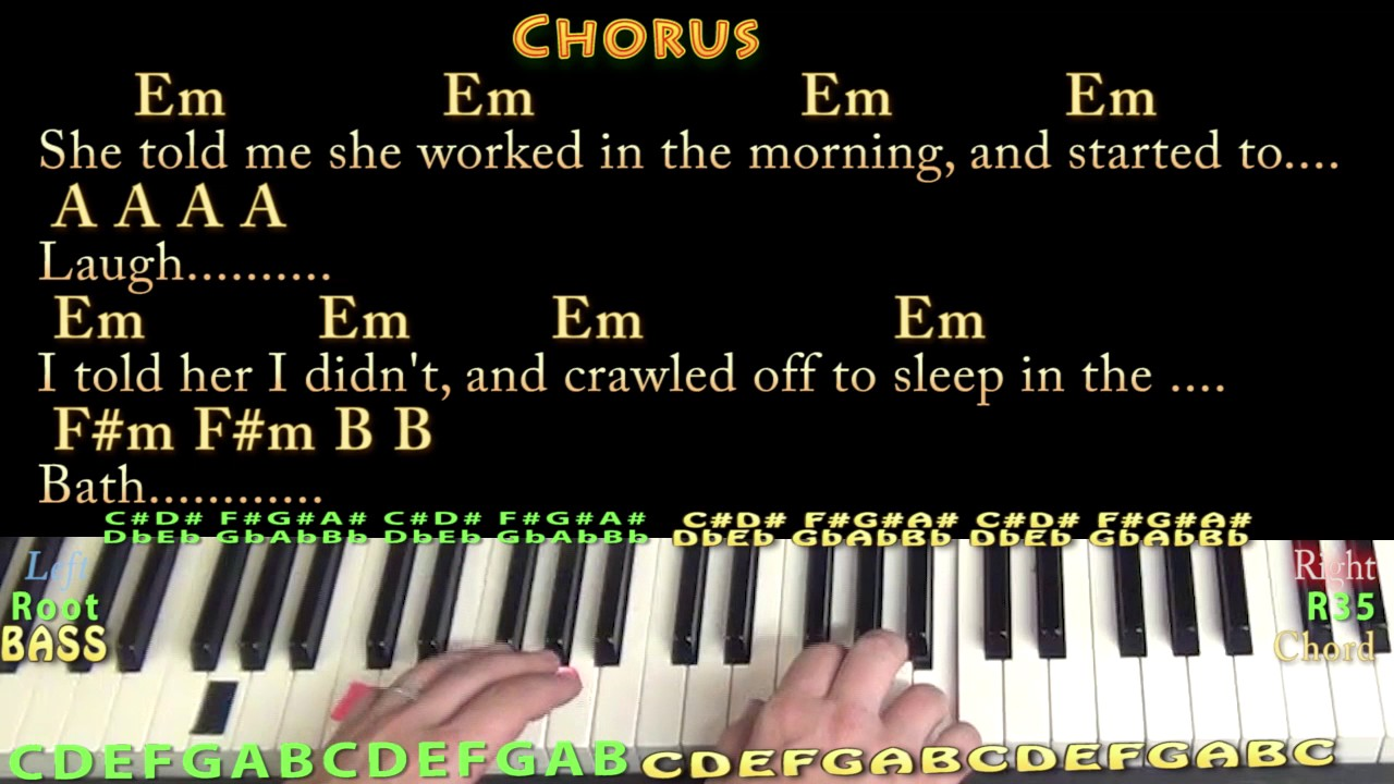 Norwegian Wood The Beatles Piano Lesson Chord Chart In E With