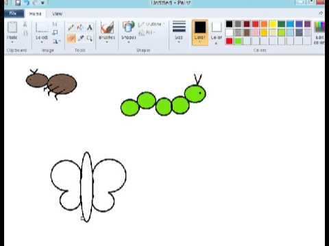 Tutorial paint - Menggambar semut, ulat, kupu2, ikan - YouTube