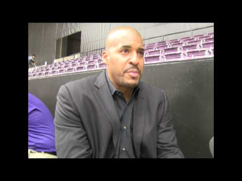 Coach Corliss Williamson and Robert Crawford after the Southeastern Louisiana Game
