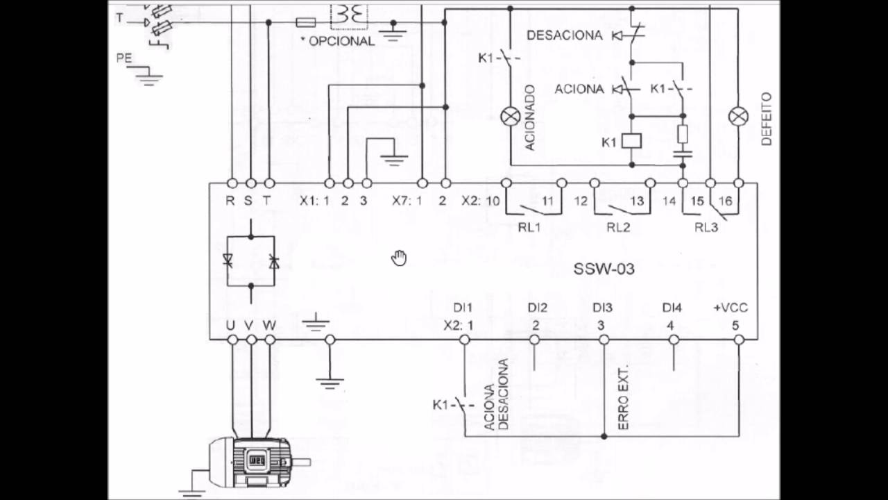 Motor Soft Starter Wiring Diagram 1995 Nissan Truck Partida Manual Da Weg Ssw 03 - Youtube
