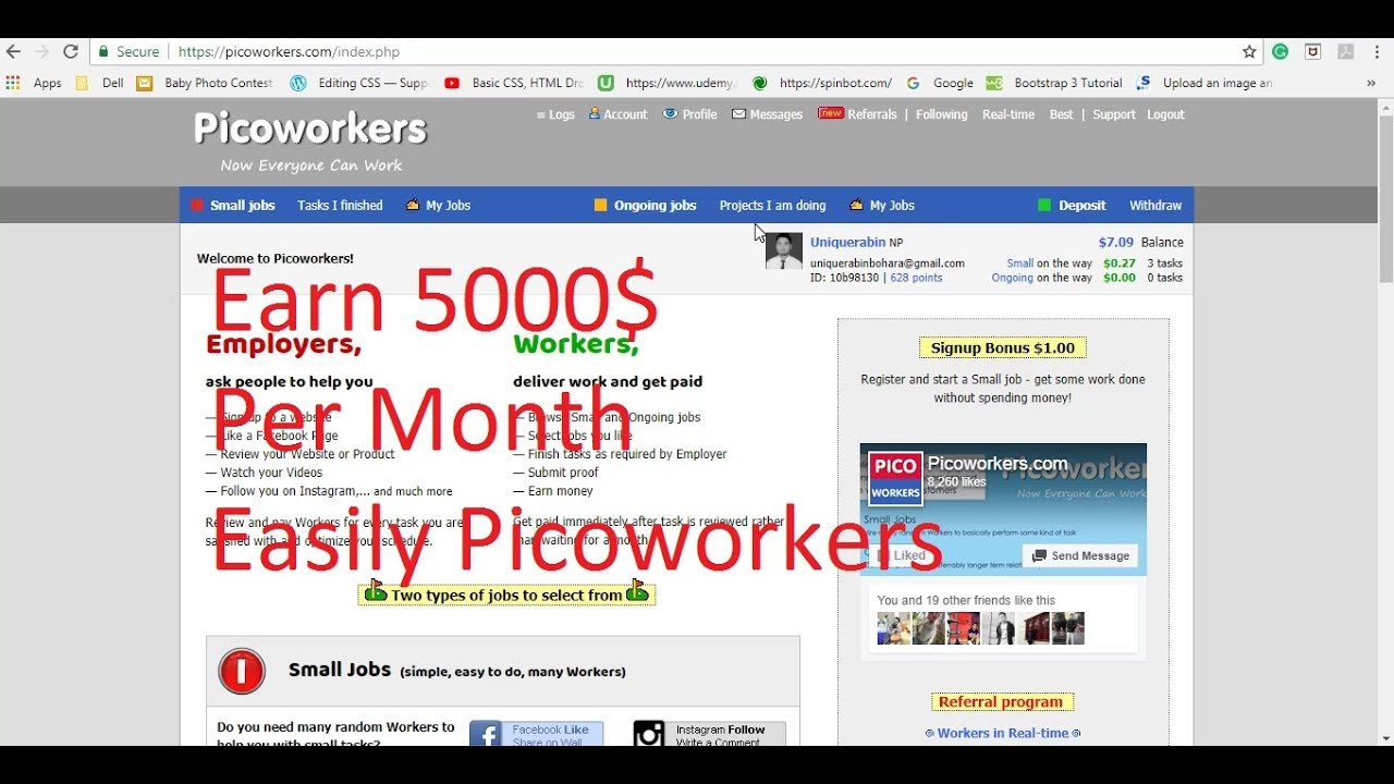Earn 5000$ Per Month From Picoworkers With Simple and Ongoing Task !!!
