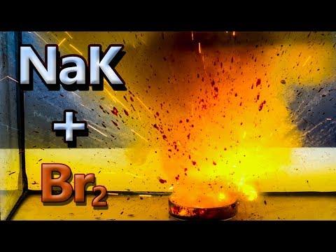 Sodium-potassium Alloy (NaK) And Bromine Reaction!