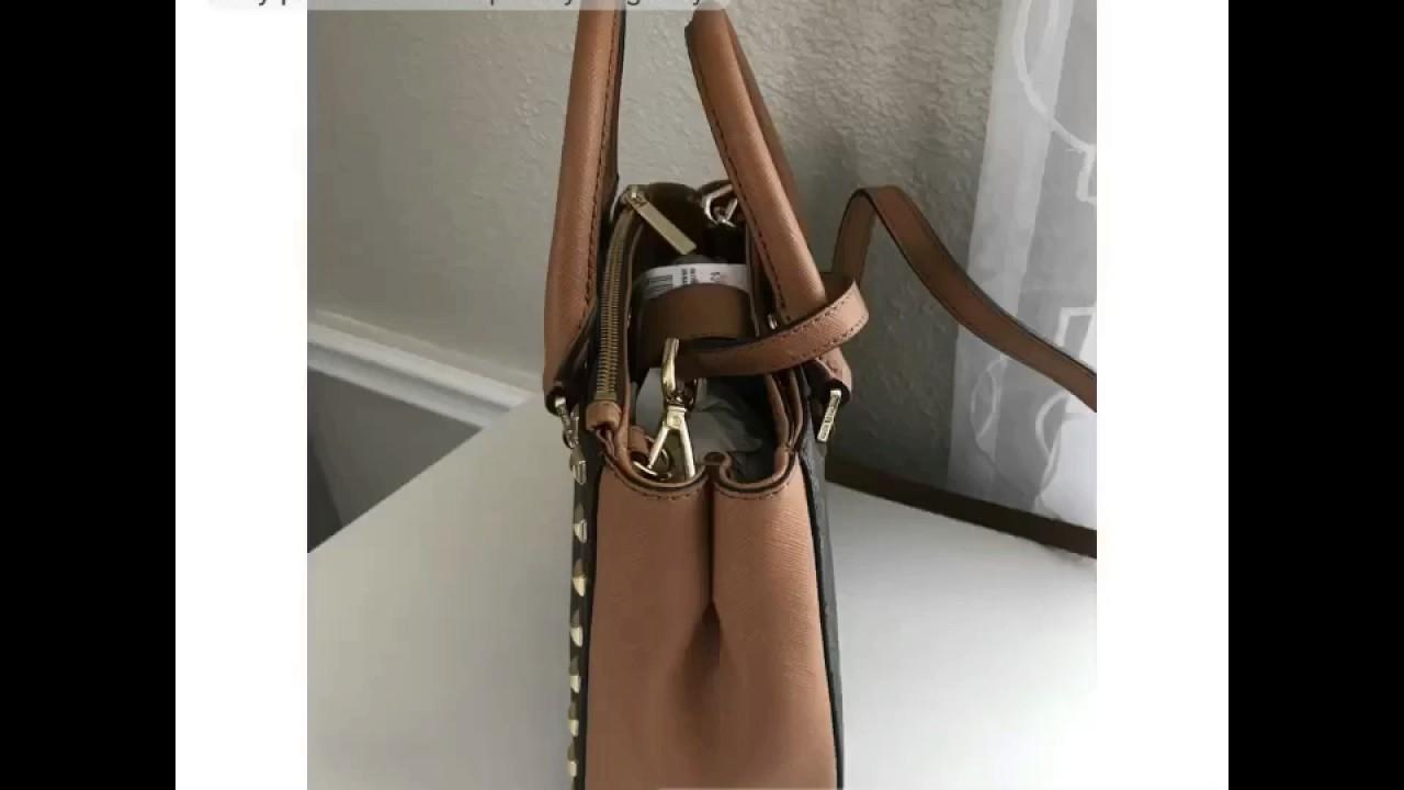 9f0c0603cc6ea MICHAEL KORS SIGNATURE KELLEN STUDDED XS SATCHEL BAG PVC LEATHER IN  BROWN ACORN