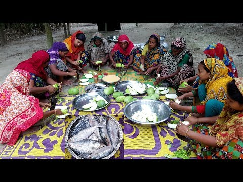 Hilsa/ELish Fish & Wax Gourd Mixed Curry With Rice Prepared For Whole Village Peoples Lunch