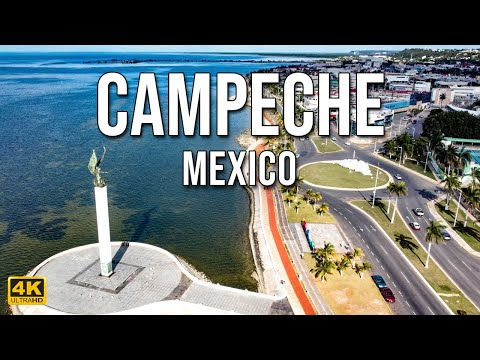 Flying Over Campeche City | Campeche | Mexico [4K]