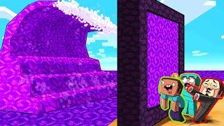 Minecraft - PORTAL TSUNAMI BASE CHALLENGE! (Build to Survive)