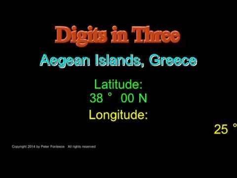 Aegean Islands Greece - Latitude and Longitude - Digits in Three