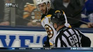 Bergeron not too happy Soshnikov drilled him from behind