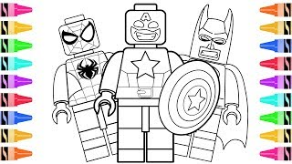 How to Draw LEGO Superheroes Captain America   Kids Learn Colors