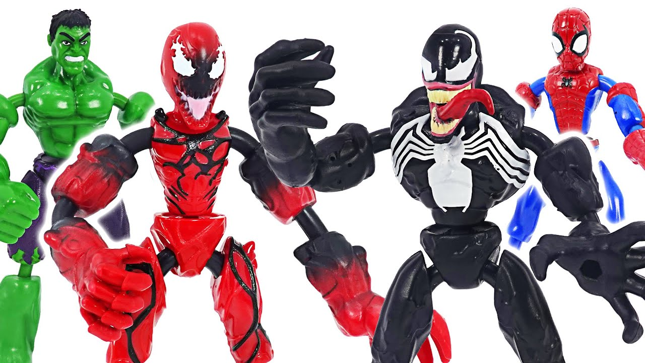 Marvel Avengers Bend and Flex Spider-Man, Hulk VS Venom, Carnage! | DuDuPopTOY