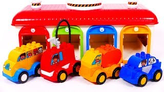 Learn Colors with Toy Vehicles and Garage Parking Playset for Children