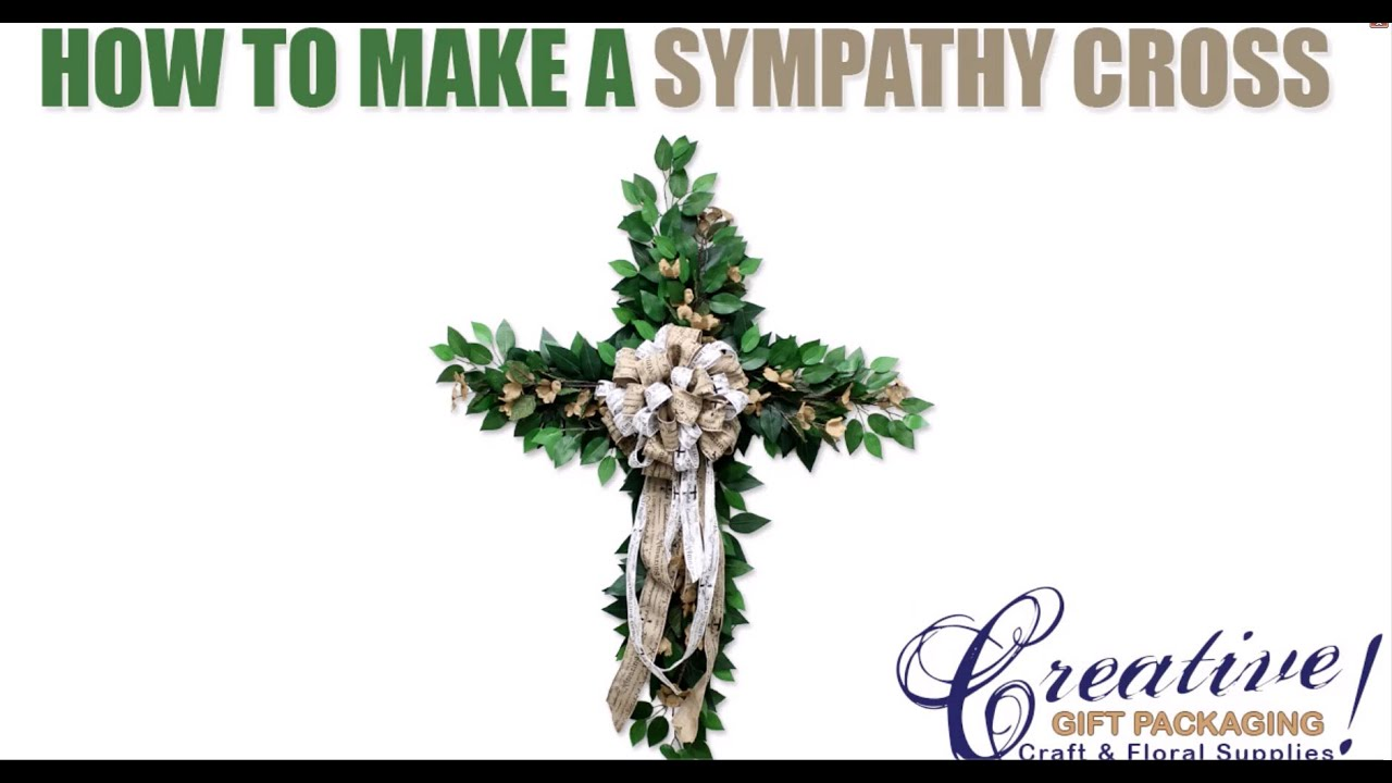 How to make a sympathy cross for a funeral cross wreath youtube izmirmasajfo