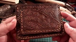 Тиснение по коже. Мой первый кошелек. Своими руками сделал красиво из натуральной кожи