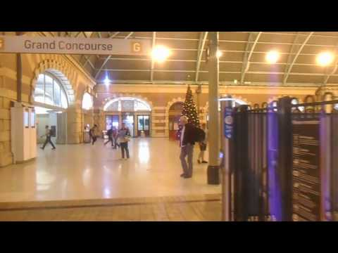 Sydney Central Station and train departure to Melbourne