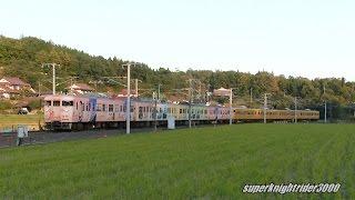 115系8連(花燃ゆラッピングN-06編成+濃黄色L-10編成)の団体臨時列車です...
