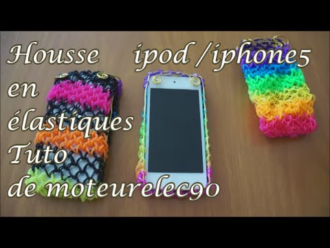"""Tuto coque en élastiques """"rainbow loom"""" iPod iPhone 5 How to make a iPhone case ?"""