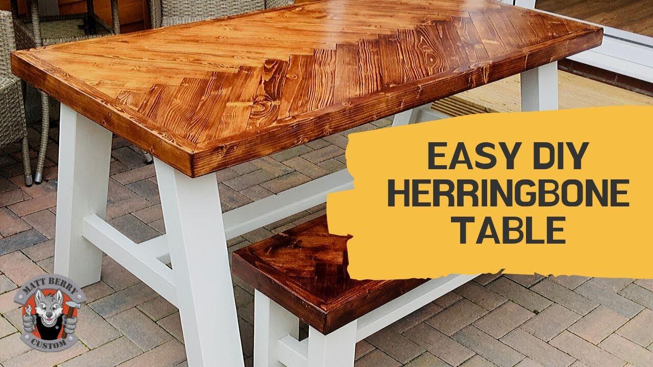 Easy Diy Herringbone Table From Banana Wood Youtube In 2020 Easy Diy Easy Projects Easy