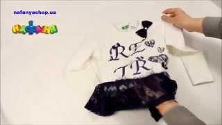 Туника для девочки цвет молочный синий с гипюром арт1501 077(Купить можно в магазине Нафаня http://nafanyashop.ua/product/view/19385., 2015-04-20T13:51:41.000Z)