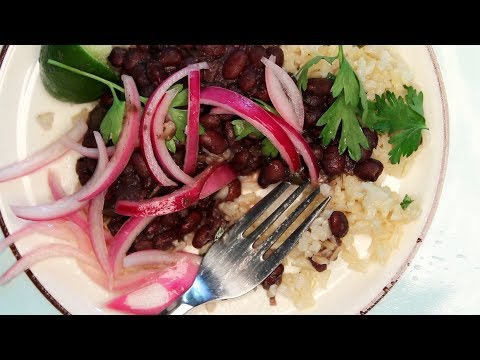 Black Beans with Cilantro-Lime Brown Rice and Pickled Onions